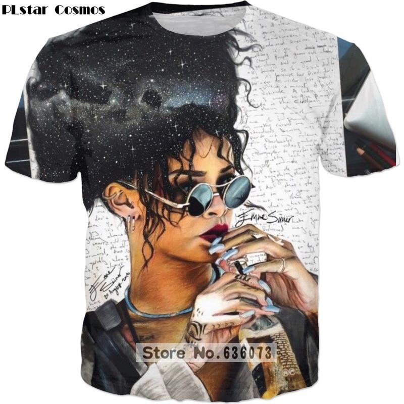 PLstar Cosmos 2019 Summer New Fashion 3d t-shirt Hip hop Tee shirts singer Funny Rihanna 3d Print Mens Womens casual t shirt