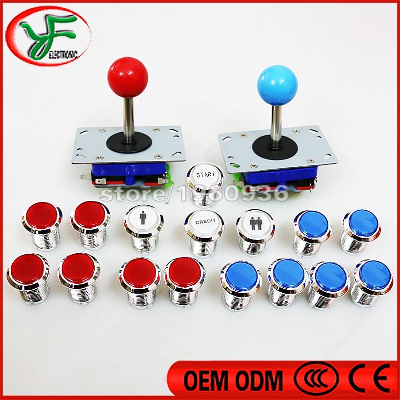 16 Uds botón iluminado cromado 12V led arcade interruptor botón con 1 P/2 P Crédito/estrella + 2 zippy long staff joystick