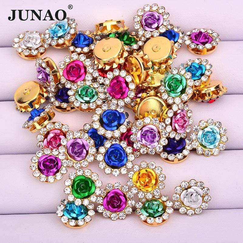JUNAO, 10, 12, 14mm, mezcla de colores, diamantes de imitación, apliques, Strass, rosa de resina, cabujón, piedras, cristales de flores para manualidades de costura