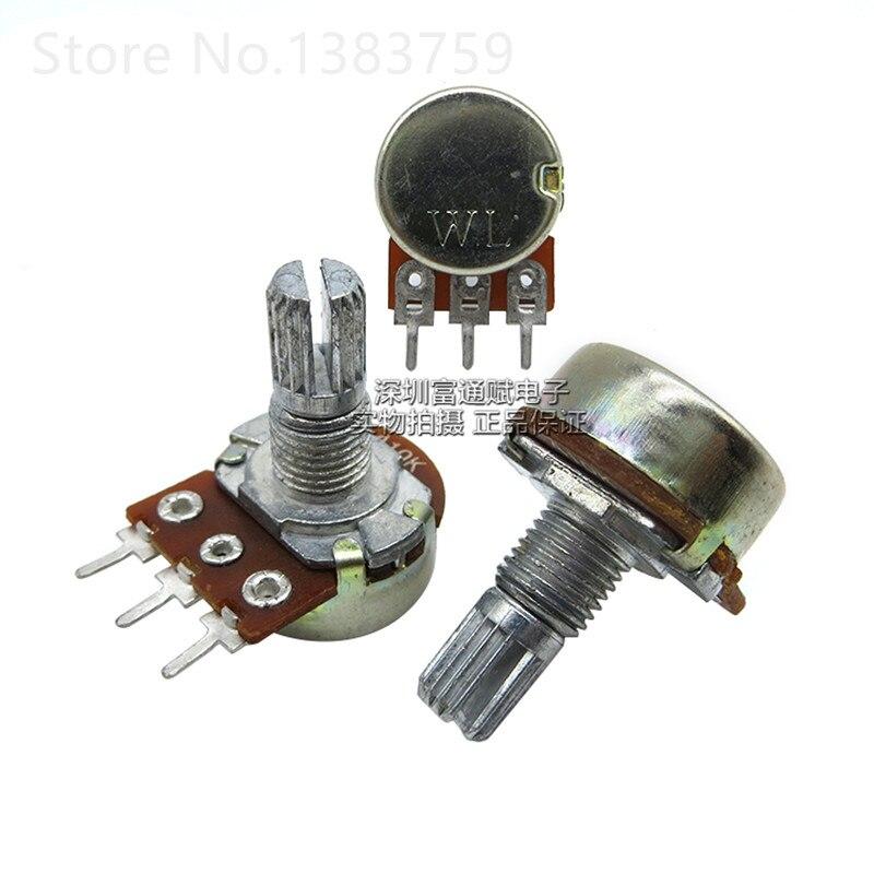5 uds., potenciómetro de volumen de calidad de sonido W.L, 16 tipos, A10K, unidad única, potenciómetro, longitud del mango, eje de flor de 15MM