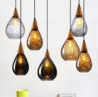 Nordic Design Modern LED Pendant Light Loft Style Wood Glass Droplight Fixtures For Dining Room Hanging Lamp Indoor Lighting