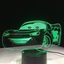 Super voiture 3D veilleuse voiture de course USB LED lampe de Table 3D Illusion lampe enfants enfants chambre décor salon lumières livraison directe