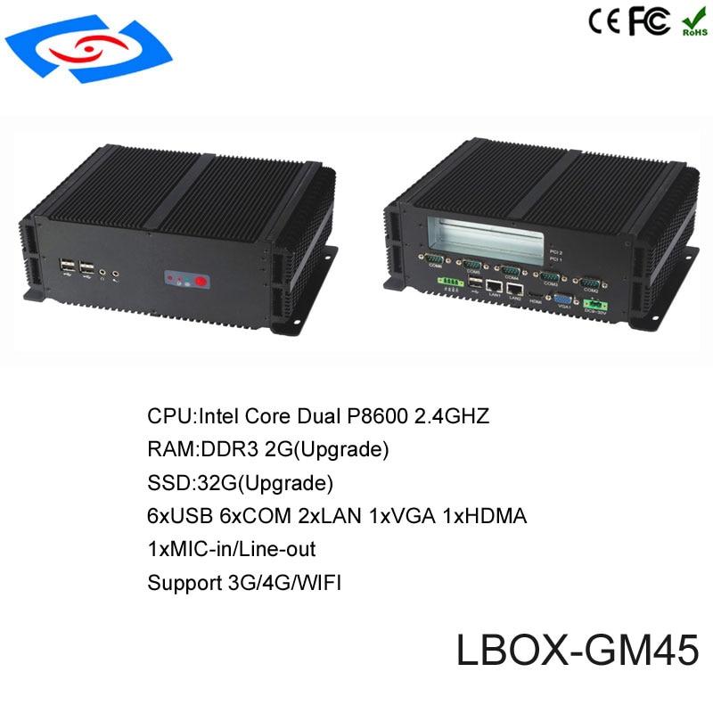 Mini pc sans ventilateur à bas prix avec 2 * LAN et VGA et 2 * PCI ordinateur industriel intégré