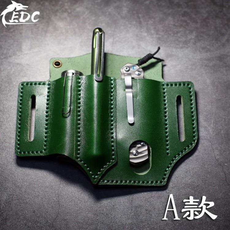 A66 primera capa de cuero de vaca EDC cintura holster multifunción portátil almacenamiento de herramientas de cuero
