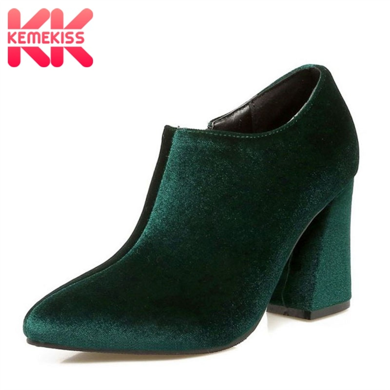 KemeKiss Fashion Women High Heel Shoes Zipper Flock Leather Thick Heel Pumps Office Lady Vintage Wedding Footwear Size 34-43