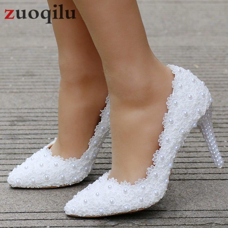 Blanco zapatos de encaje zapatos de novia, zapatos de boda, zapatos mujeres...