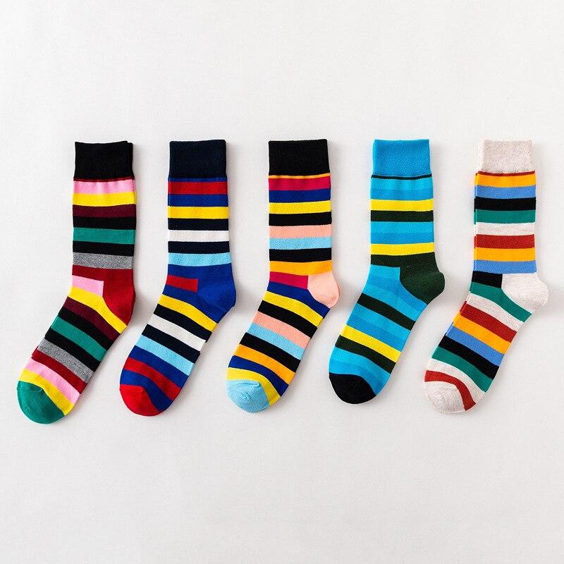 5 par/set de calcetines de moda a rayas, calcetines Harajuku arco iris para hombre, calcetines de algodón peinado transpirables, regalo para hombres y mujeres