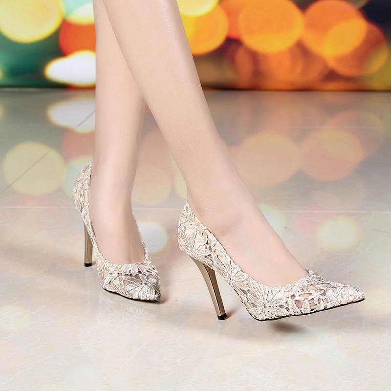 Elegante vestido de banquete bombas zapatos Sexy para mujer tacón fino tacones altos encaje talla grande desnudo Color puntiagudo zapato de boda 31,33-45