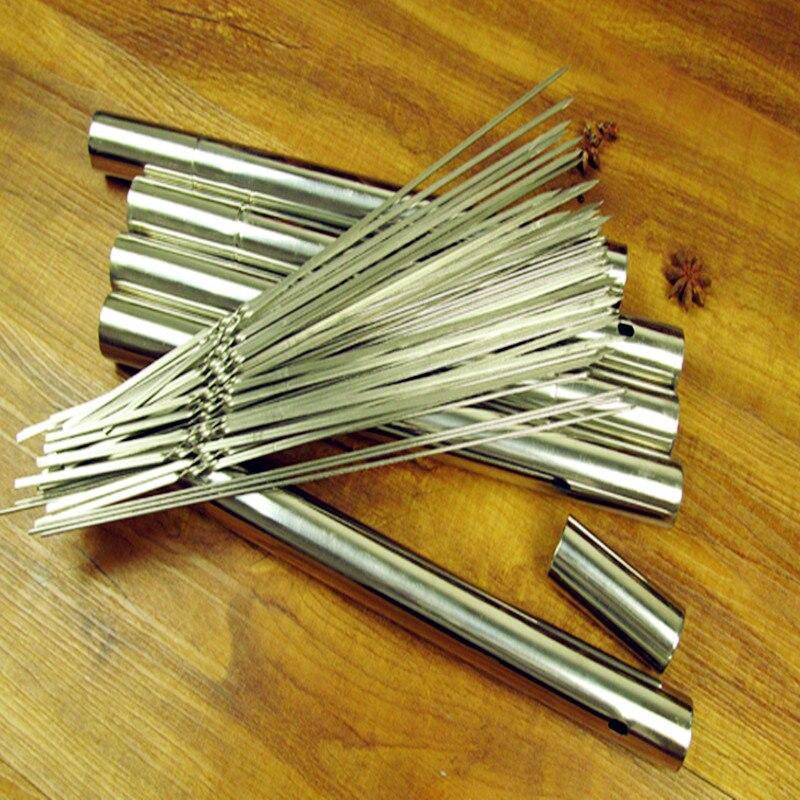 Señal plana de acero inoxidable para barbacoa al aire libre, aguja de cordero, señal, palos de satén, accesorios para parrilla, herramientas 50 Uds. 35cm de largo