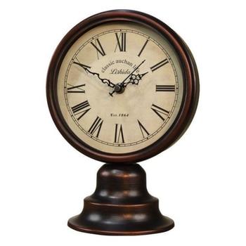 European Style Vintage Home Decoration Table Clock Best Gift Creative Metal Clock Living Room TV Cabinet Desk Decoration LF76