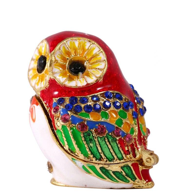 H & D pájaro joyero rojo búho cristal tachonado baratija caja brillante Rhinestone esmalte decoración del hogar figura coleccionable regalos