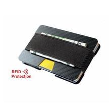 Gibo Auja - Brand 100% Real Carbon Super Slim Card Holder Card Case Money Organizer Men Wallets Short Wallet RFID Pocket Purse