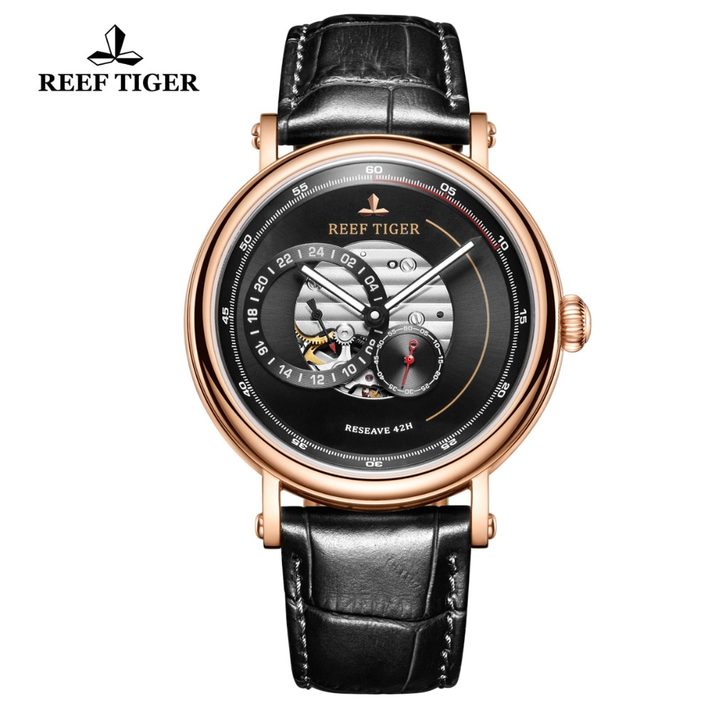Reef Tiger/RT Top Brand Mens Luxury Watch Waterproof Automatic Watch Genuine Leather Strap Skeleton Mechanical Watch RGA1617