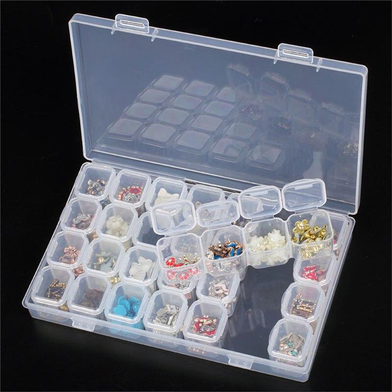 28 ranuras para almacenamiento de joyas cajas ajustables Organizador Espacio bordado caja diamante artesanía schilde cuentas herramientas de almacenamiento para el hogar