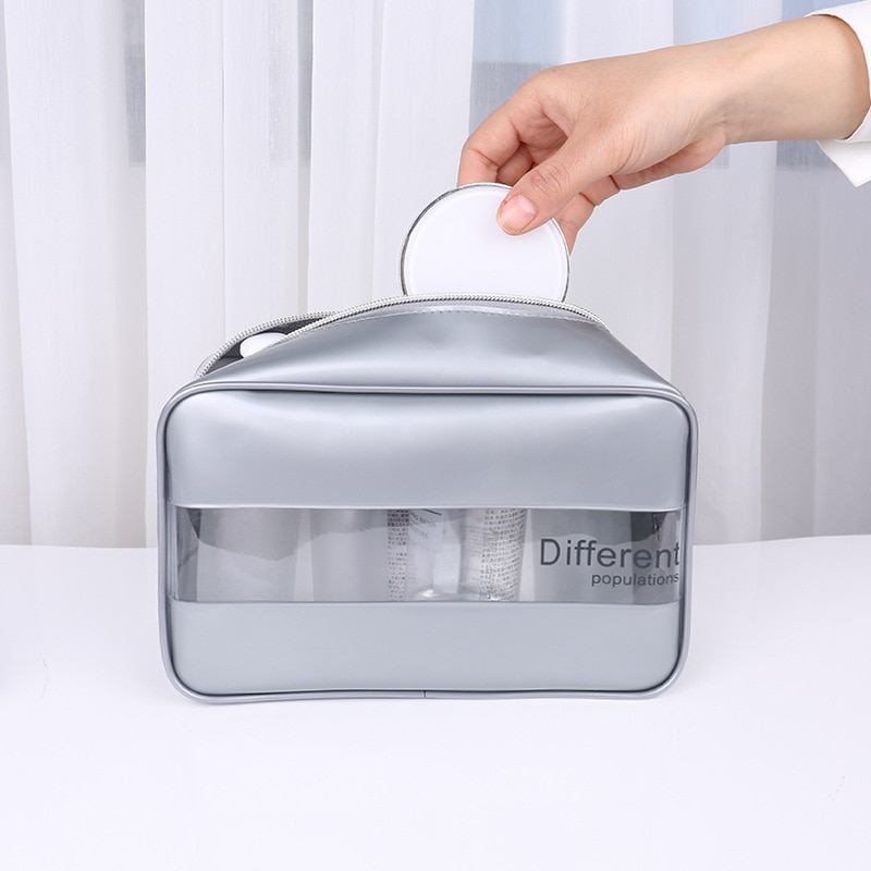 PURDORED  1 pc Women Clear Cosmetic Bags PU Beauty Case Make Up Bag Large Travel Makeup Organizer Bag Necessaire Feminina