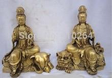 "Un par de 11 ""de Bronce Chino Wenshu Puxian kwan-yin Ride León Elefante Ruyi Estatua De Loto descuento 30%"