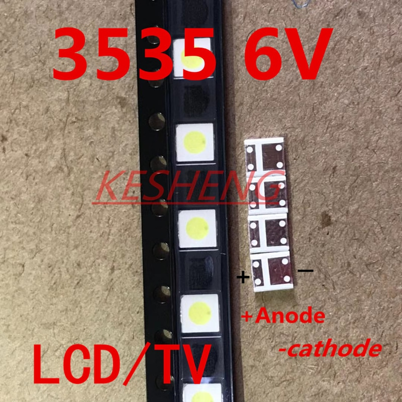 100pcs 2W 6V 3535 TV Backlight LED 3V SMD Diodes Cool White LCD TV Backlight Televisao TV Backlit Diod Lamp Repair Application