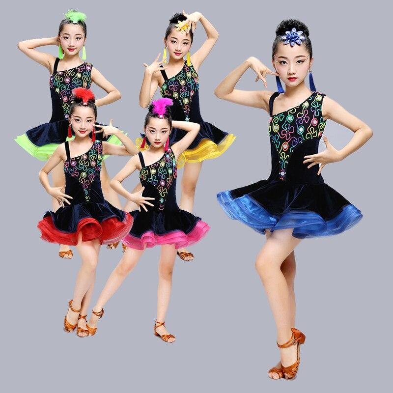 New Latin Dance Costume Girls Summer Dance Practice Performance Game Performance Wear paste drill Latin Dress