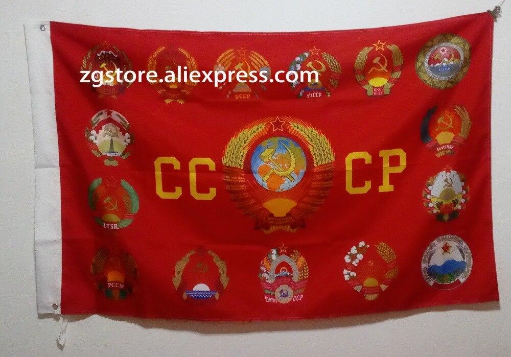 USSR cccp abrigos de armas de la Unión Soviética Día de la victoria bandera caliente vender mercancías 3X5FT 150X90CM Custome Banner latón agujeros de metal Rusia