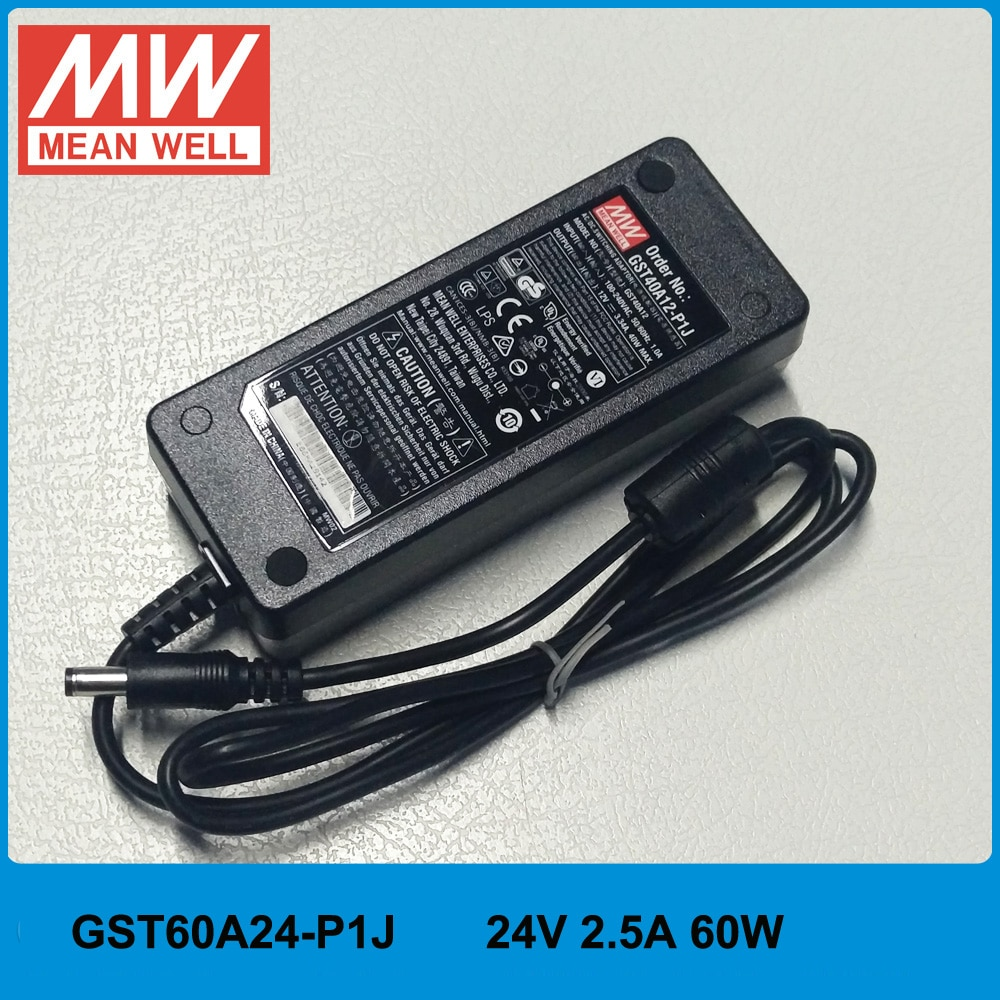 الأصلي يعني جيدا GST60A24-P1J 60W 24V 2.5A AC/DC عالية موثوق مستوى السادس Meanwell الأخضر سطح المكتب محول