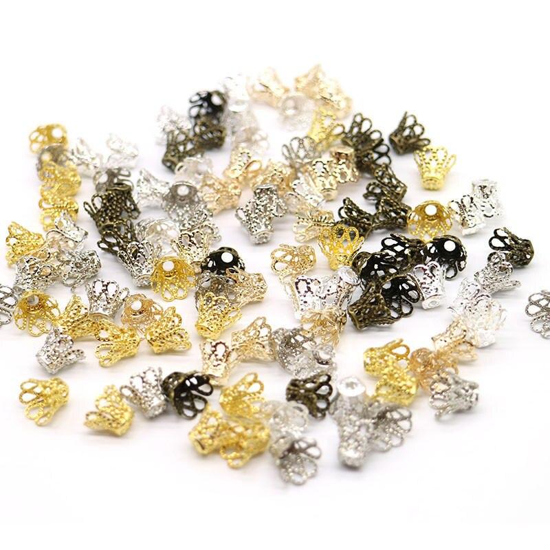Gran oferta de tapas de cuentas de pétalos de Metal, aleación de Zinc, Color plateado, cuentas espaciadoras de pétalos de flores, puntas para encontrar para hacer joyas