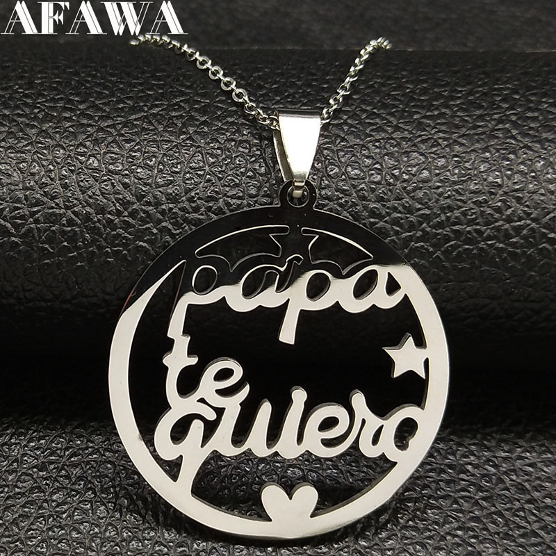 2020 moda papa te quiero aço inoxidável colar de prata colar de prata colar de cor jóias colgantes mujer moda n408s01