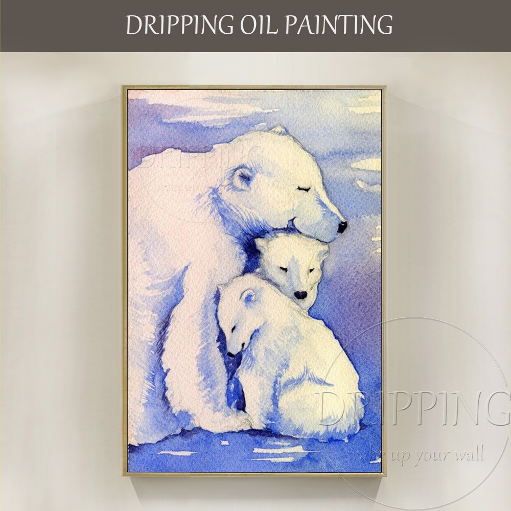 Directamente del fabricante de alta calidad hecha a mano del Ártico Oso Polar Animal pintura al óleo sobre lienzo hecho a mano Polar cuadro de osos