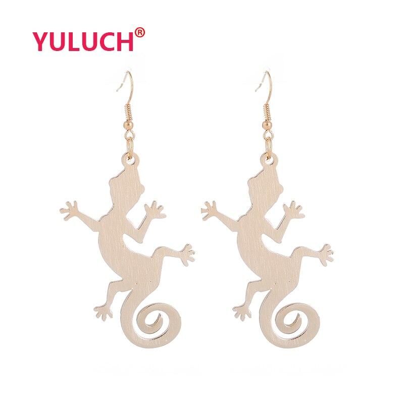 YULUCH Pop ювелирный дизайн Алюминиевый кулон в форме ящерицы для модных женщин изысканные роскошные серьги аксессуары Подарки