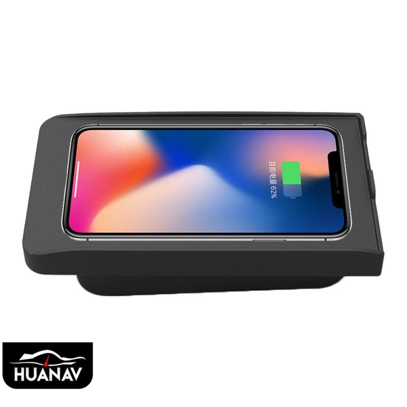 QI cargador inalámbrico de coche para Volvo XC90 XC60 S90L V90 2017-2018 carga inalámbrica rápida infrarroja inteligente soporte para iPhone de coche LG