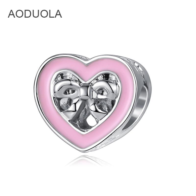 AODUOLA 5 pcs Europeia 925 Sterling Silver Love Hearts Forma arco nó Acessórios contas é adequado para Pulseira de Charme Europeu