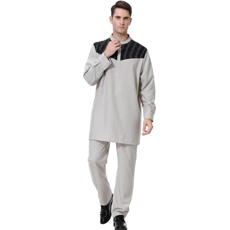 Vestido de Muçulmano Terno dos Homens Vestido de Manga Blusa + Calça Homem Oração Islâmica Árabe Muçulmano Roupas Longa Túnica Branca Paquistão Ropa Turca
