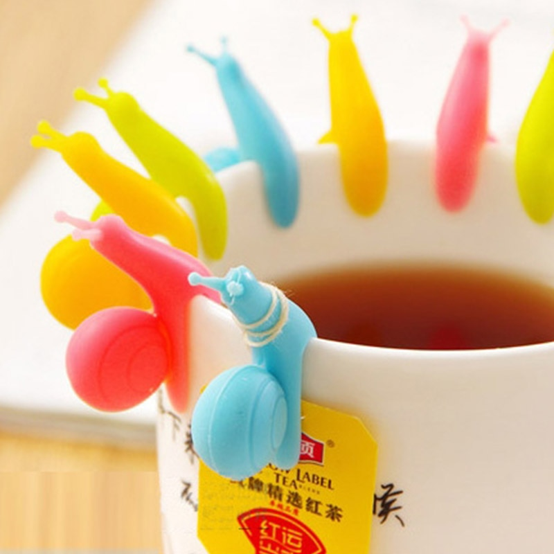 6 pçs/lote bonito doces cores caracol forma silicone saco de chá titular copo clipe caneca chá infusers filtro clipes ferramentas de chá como presente