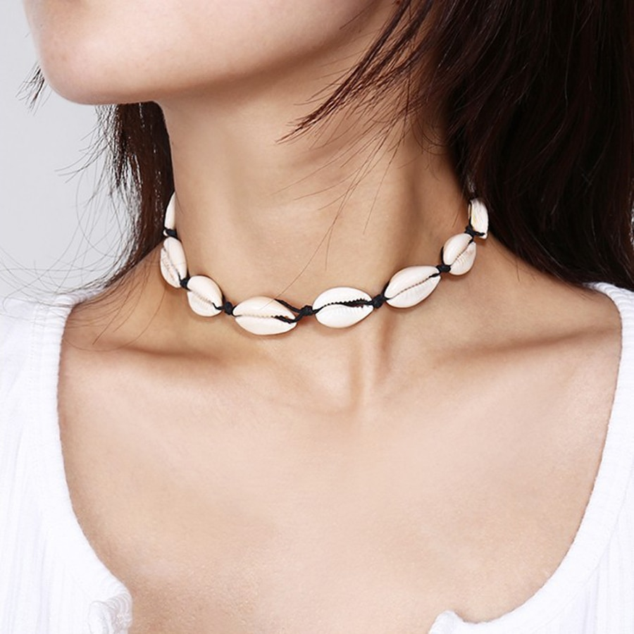 Concha do mar gargantilha colar feminino natural concha jóias chocker simples neckless para meninas kolye jóias