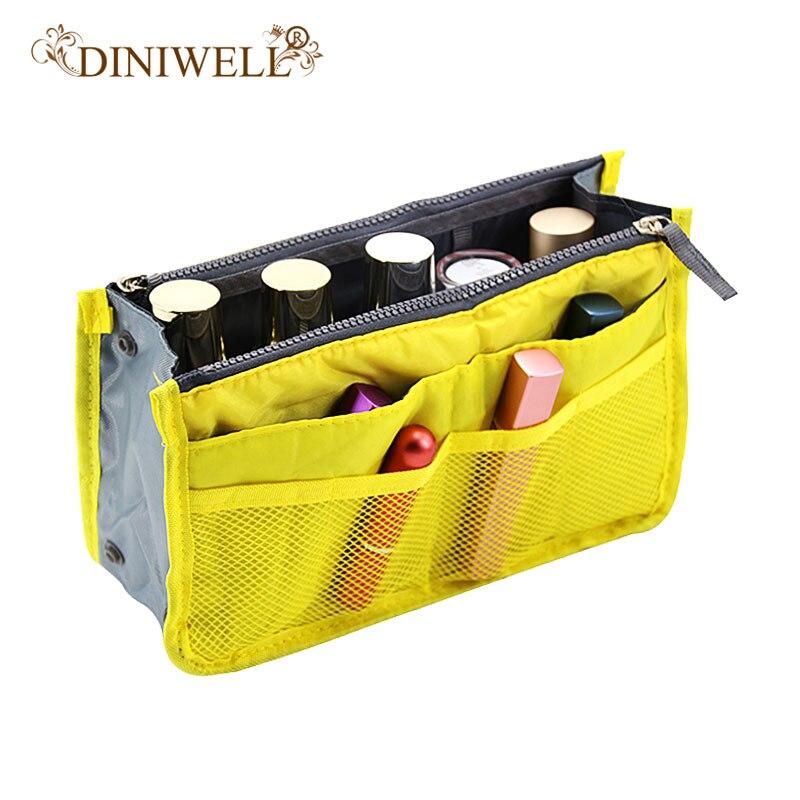 Diniwell portátil duplo zíper saco de armazenamento inserção organizador bolsa feminina bolsa de viagem organizador para cosméticos ipad