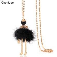 Chenlege mode lange halskette für frauen charme big halsreifen ketten kaninchen anhänger charms damen erklärung bunny pelz halsketten