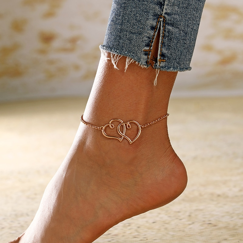 aliexpress.com - XIYANIKE Gold Silver Color Big Hollow Love Heart Adjustable Anklet Beach Leg Bracelet Anklet Jewelry Summer Foot Accessories