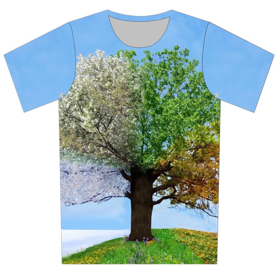 Joyonly Céu Azul Colorido Temporada Árvore Design Engraçado Camisetas das Crianças Das Meninas Dos Meninos Cool T shirts Tops Tees Crianças Casual roupas