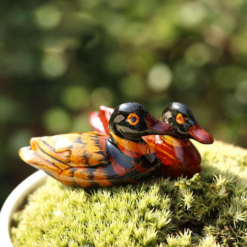 Wood Mandarin Duck Animal Miniature Fairy Garden Home Houses Decoration Mini Craft Micro Landscaping Decor DIY Accessories