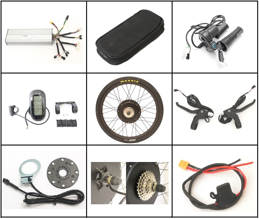 "EU DUTY FREE 36V o 48V bicicleta eléctrica 1500W Kits de conversión 26 ""Rueda de bicicleta eléctrica trasera Kit de Motor sin escobillas con LCD6"