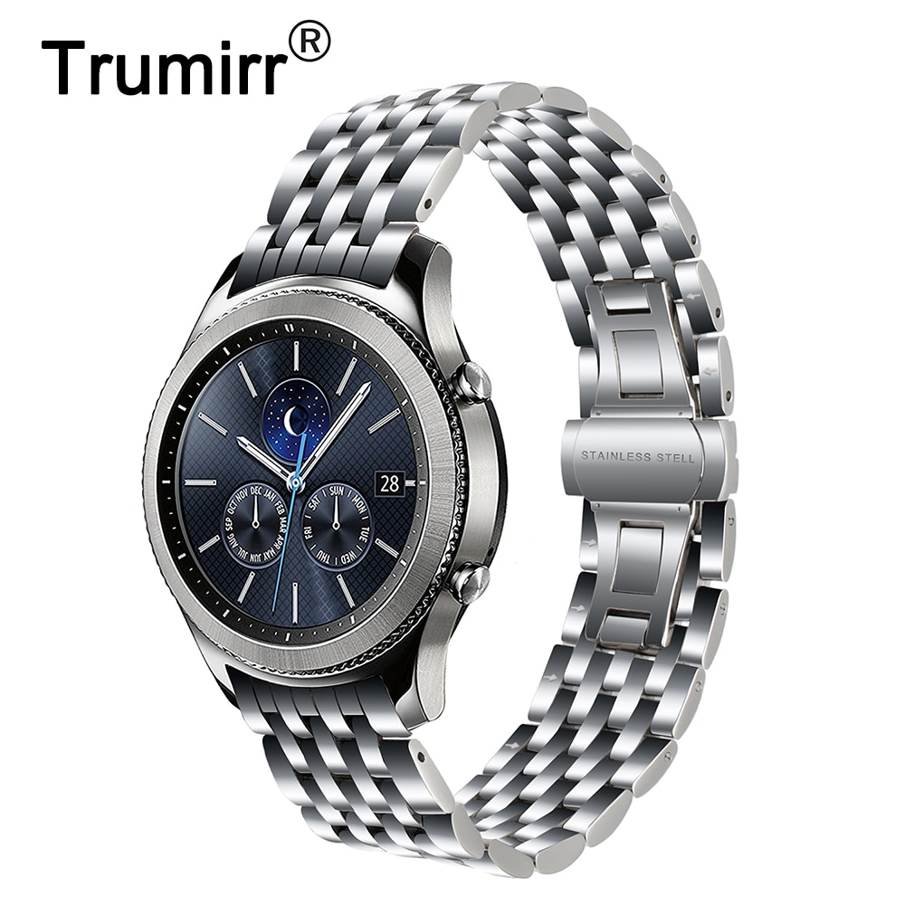 Arc End Stainless Steel Watchband for Samsung Gear S3 Classic Frontier R760 R770 Watch Band Butterfly Clasp Strap Wrist Bracelet