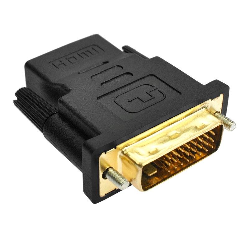 AMKLE 24 + 1 Pin DVI HDMI adaptador chapado en oro/HDMI/F a DVI/M convertidor de vídeo de 1080P para PS3 proyector HDTV