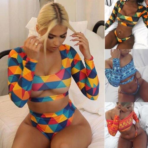 2018 nuevas mujeres de manga larga conjunto de Bikini push-up vendaje colorido geométrico estampado 2 piezas traje de baño e traje de baño