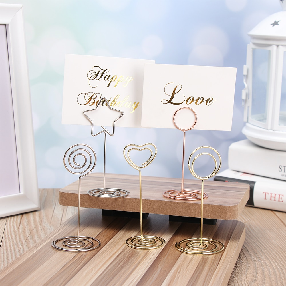 4 style Wedding Heart Photo Clip Table Number Stand Desktop Decoration Metal Place Card Holder Party