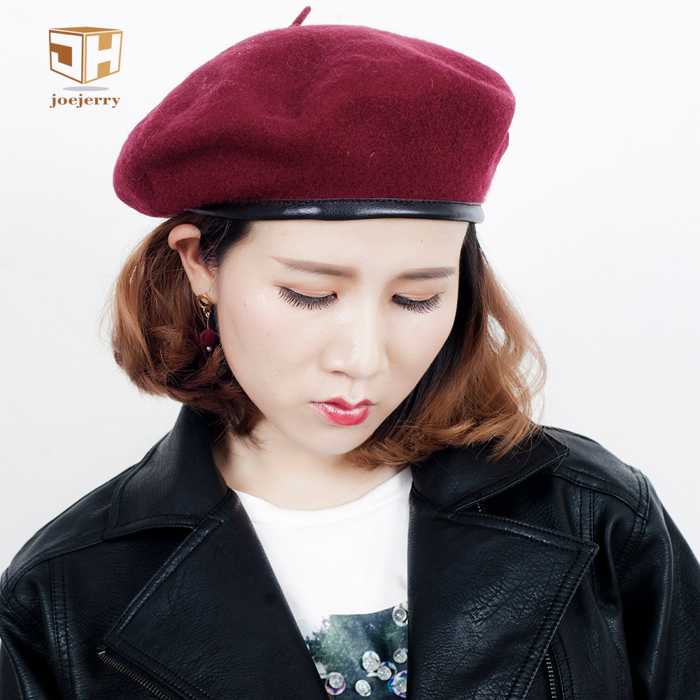 JOEJERRY Wool Beret Female Leather Beret French Hat Military Flat Cap For Women Winter Autumn Spring