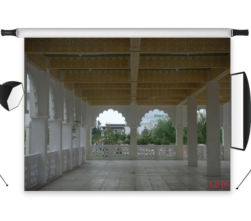 LB 9x6FT Palacio retro romano estilo hermoso Gazebo lavable sin pliegues poliéster fotografía de fondo estudio