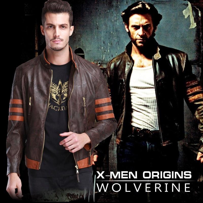 X-men Origins disfraces de Wolverine chaqueta de cuero PU para hombre Cosplay de piel de motocicleta