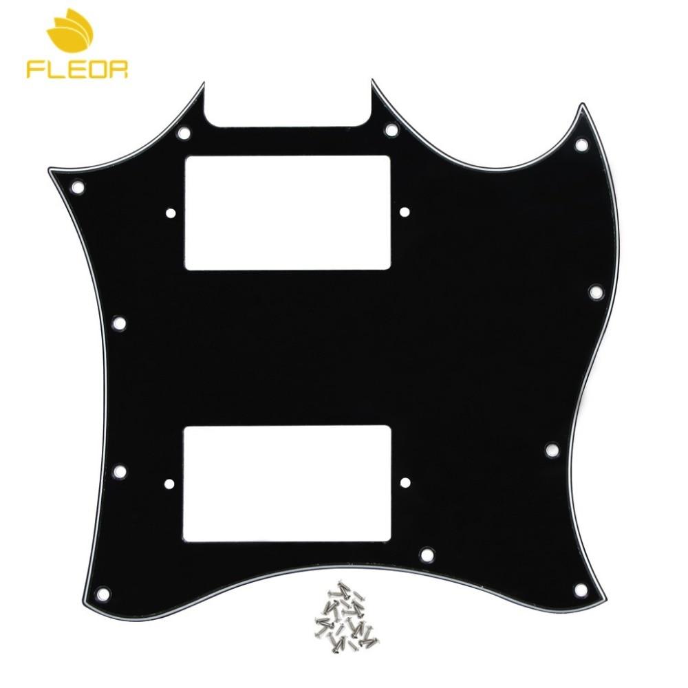 FLEOR, 3 capas, negro, cara completa, SG, golpeador de guitarra, placa para rascar sin agujeros de puente, estilo con tornillos para piezas de guitarra clásica SG