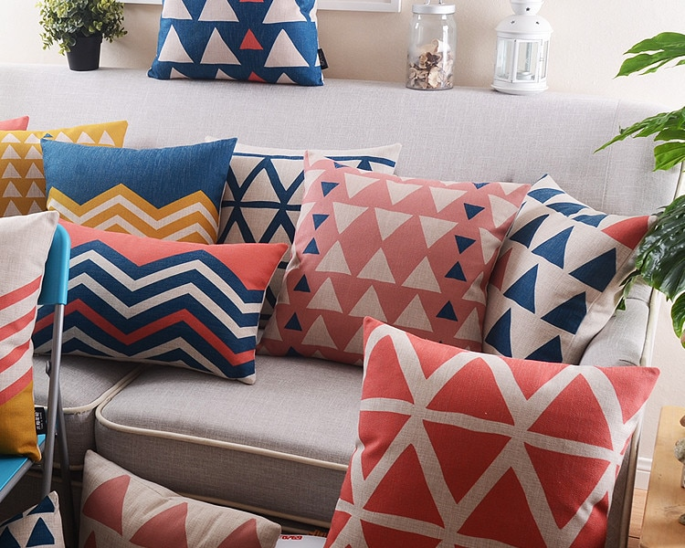 ¡Venta al por mayor! cojín de lino de geometría abstracta nórdica para cojines de decoración para sofá