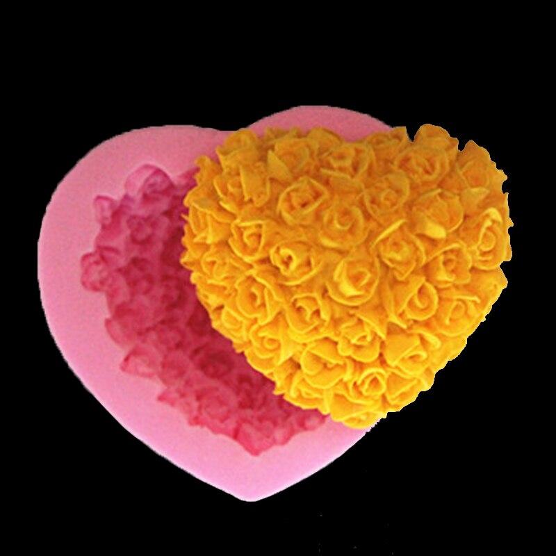 Силиконовая форма для льда в форме сердца, формочка для шоколада, печенья, торта, украшения, Sugarcraft, ручная работа, мыльные свечи, конфета Fm050, кухонные
