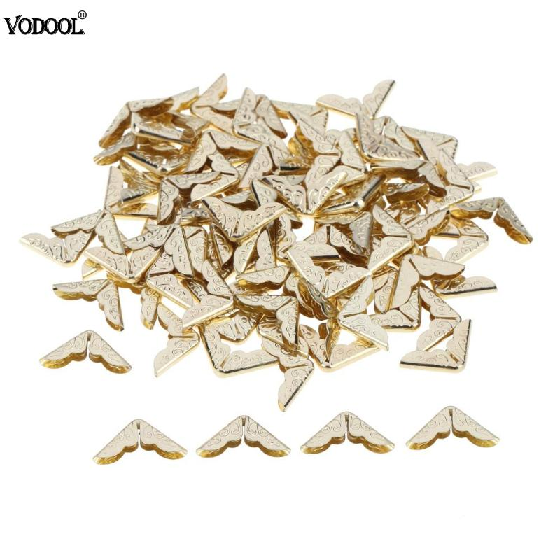 100pcs Metal Book Corner Protectors Tone Scrapbooking Albums Menus Folders Corner Protectors Card File Menu Metal Corners Book